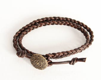 Dark Brown Double Wrap Braided Leather Bracelet, brown leather braided bracelet, boho braided bracelet, double wrap leather wrap bracelet