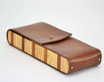 wooden leather pencil case pen, etui, holder pencil, pen box