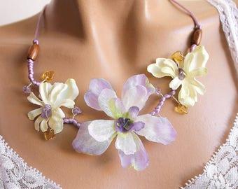 Necklace three Delphinium flowers