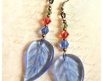 Earrings long blue leaf glass