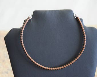 Genuine leather necklace ladies mens unisex silver chain