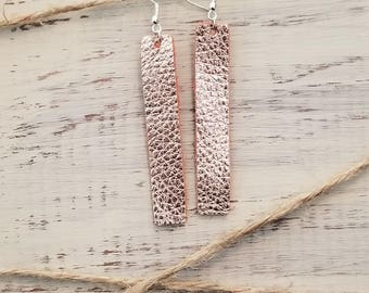 Copper/Rose Gold Rectangle Genuine Leather Earrings