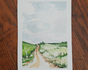 Winding Road Scene Watercolor Painting