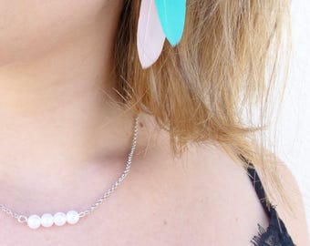 Pale pink and turquoise feather earrings