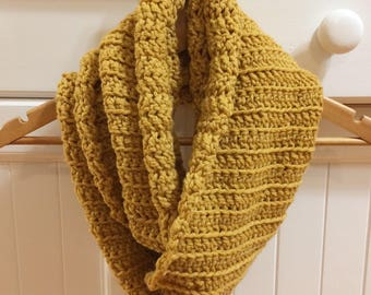 Cozy Crochet Chunky Mustard Infinity Scarf (ribbed knit style)