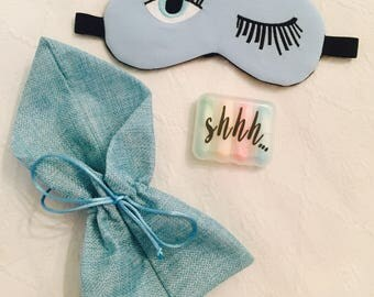 Sleep mask & Ear plug set - blue