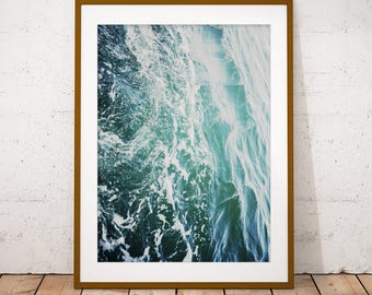 Water Waves Print, Ocean Art Print, Coastal Wall Art, Minimalist Deco, New Home, Housewarming Gift, Digital Download