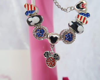 PRE-ORDER 5 Wks Mouse In The USA Charm Bead Bracelet