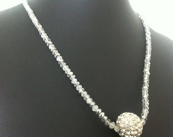 Clear Beaded Crystal Cluster Costume Jewellery Fashion Statement Necklace