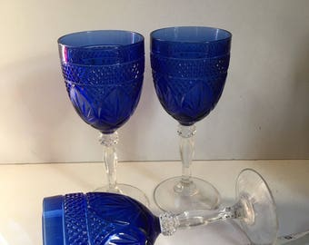 Vintage Beautiful Blue Crystal Wine Glass