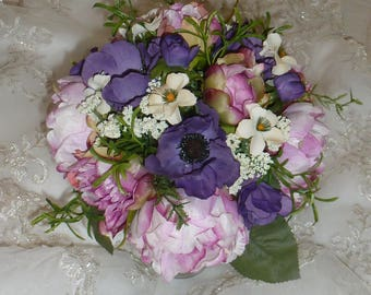 Rustic Bouquet, Hand Tied Wedding Bouquet-Purple and Cream, Wedding Flowers