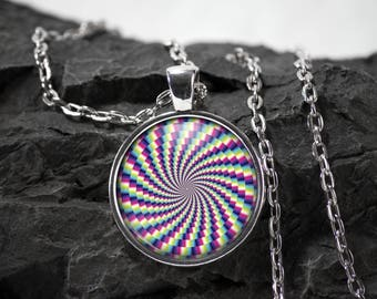 Optical Illusion Glass Pendant Psychedelic necklace Optical Illusion jewelry photo pendant art pendant photo jewelry art jewelry