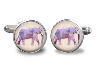Elephant cufflinks cufflinks elephant animal cufflinks african gift mens cufflinks glass cufflinks silver cufflinks mens cuff links