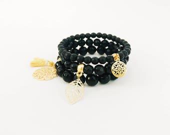 Set of 3 Gemstone Bracelet• Black Beaded Bracelet