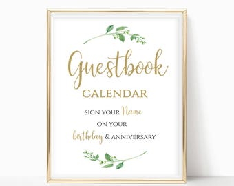 Printable Guestbook Calendar Sign Please Sign Your Name On Your Birthday & Anniversary Sign Write Your Name Sign DIY 8x10, 5x7, 4x6 Jasmine