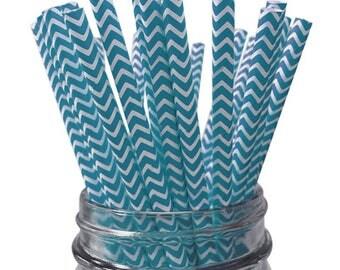 Blue Chevron 25pc Paper Straws