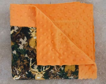 SALE! Camo Deer Baby Blanket, Minky, Flannel, Ready To Ship! Free Shipping!