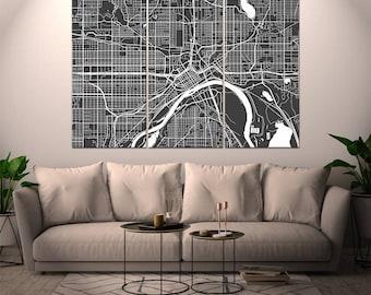 Saint Paul Minnesota / City Map / Canvas Print / Wall Art / Multipanel