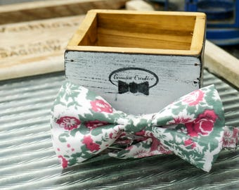 Pink and Green Floral Bow Tie