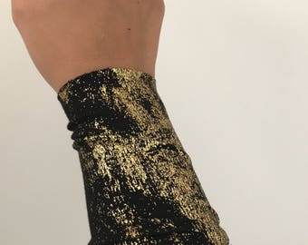 Wrist cuff bracelet, Arm Band, black fabric cuff bracelet, wrist cover, Tattoo cover up, fabric bracelet