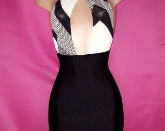 Black and White Halter Bodycon Dress
