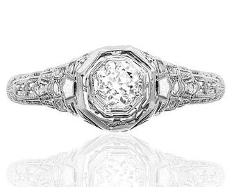 Love me Do... Original Art Deco Engagement ring