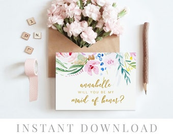 Printable Will You Be My Bridesmaid Card INSTANT DOWNLOAD, Bridal Party Cards, DIY Printable, Templett, Editable pdf, Watercolor, Bloom