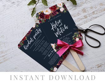 Printable Wedding Program INSTANT DOWNLOAD, Paddle Program, Program Fan, DIY Wedding Ceremony, Templett, Editable pdf, Navy Blue, Marsala