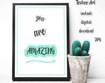 Motivational quote, Printable art, Home decor, Wall decor, Nursery printable art, Digital print