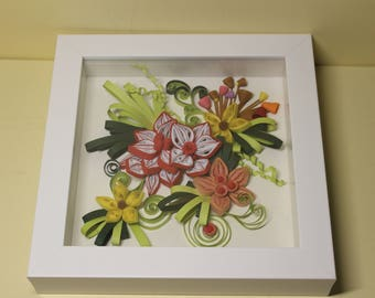 Made to order, Wall Hanging Quilled Flower, Paper Quilling Art, 3D Flower Quilling Picture,Free shipping