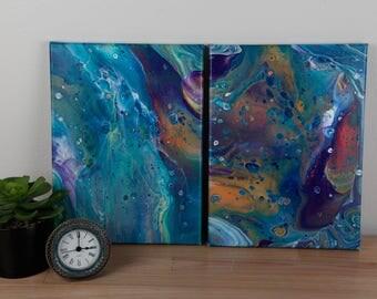 Multicoloured Pair of Fluid Acrylic Paintings