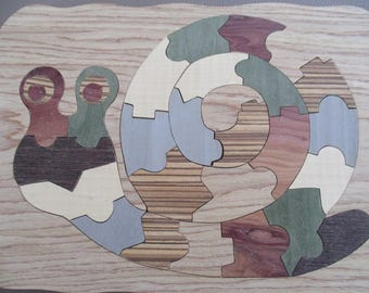 snail in marquetry kids puzzle