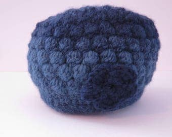 Poof hat soft blue variegated with flower