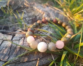 Unakite Moonstone Labradorite & Rose Quartz Crystal Gemstone Bracelet