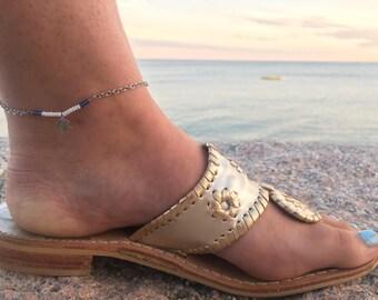 Beaded Anklet - Beaded Bar Anklet - Bar Anklet - Charm Anklet - Moon and Star Anklet - Beaded Ankle Bracelet