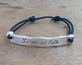 Bracelet - adjustable - life is beautiful - black - silver - stainless steel - bohostyle - Bohemian - gypsy - Beach - surf - gypsystyle
