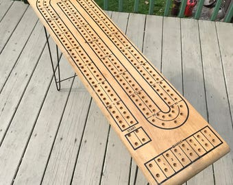 Vintage 3 Track Standing Cribbage Table with Folding Legs Wooden Holman Luggage Co.