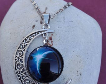 Cosmos necklace half moon blue