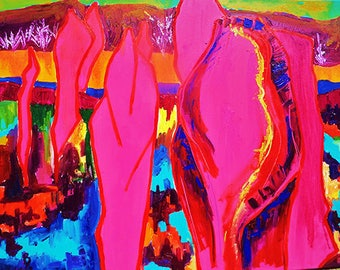 Pink landscape, Nature, Print from original painting, Print, Canvas, Color painting, Modern, Decor, ArtWork, Original painting. Kids room