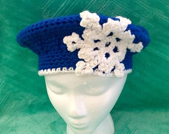 Adult Woman's crocheted Snowflake Slouch beanie