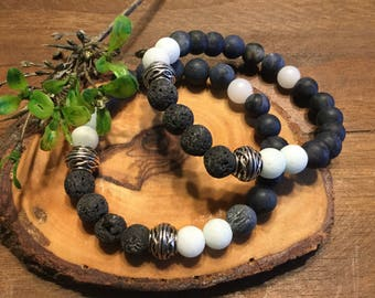 Essential Oil Stretch Bracelet, Lava beads, Diffuser bracelet, silver