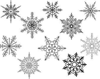 10 Christmas Snowflake - Snowflake SVG - Snowflake Silhouette & Cricut Cut Files - Christmas SVG - Winter Cut Files - Merry Christmas - Snow