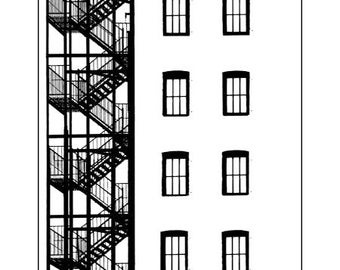 Blank Note Card of Chelsea Fire Escape Image 1873 T