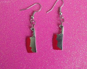 Bloody knife earrings, Butcher's knife earrings, Halloween earrings, Halloween Jewelry.