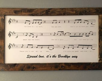 Large wood sign, hand painted sheet music and lyrics of your choice!