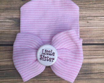 New born hat/ newborn beanie/ pink bow hat/ little sister hat