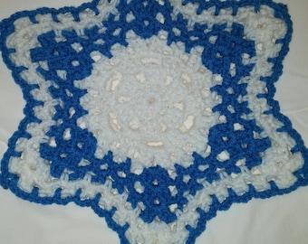 Blue and white star shaped potholder/hotpad