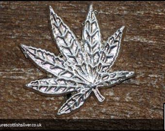 Silver Cannabis Leaf