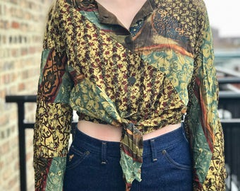 patterned vintage long sleeve cropped blouse