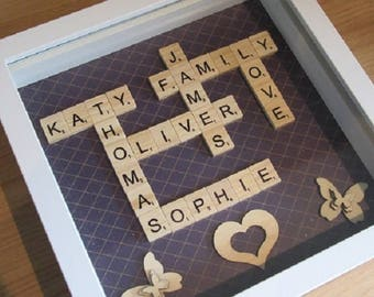 Personalised Scrabble Art - Handcrafted - Perfect for Gifts/Birthdays/Weddings